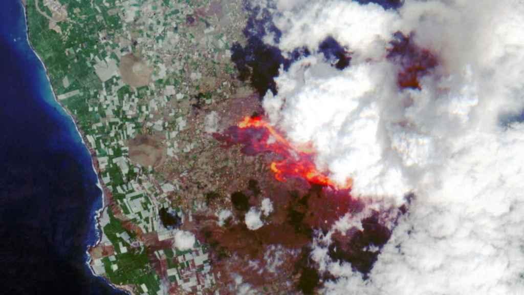 Vista aérea del volcán Cumbre Vieja de La Palma.