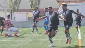 Salinas celebra el primer gol de Unionistas de Salamanca frente al RC Deportivo