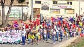 Manifestación contra el cierre de Florette en la localidad conquense de Iniesta