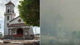 La iglesia de Todoque horas antes del derrumbe (Carlos Aciego, EL ESPAÑOL) y tras colapsar (imágenes de la RTVC).