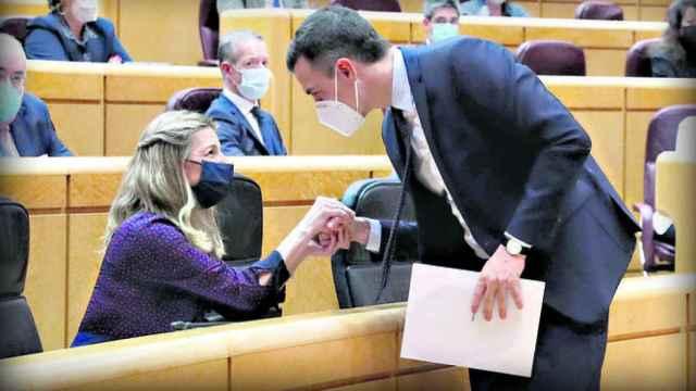 Pedro Sánchez saluda a Yolanda Díaz en el Senado.