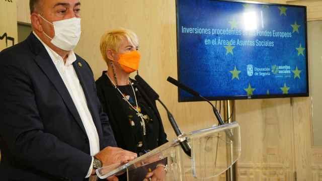 El presidente, Miguel Ángel de Vicente, durante la presentación de la inversión de la Diputación de Segovia