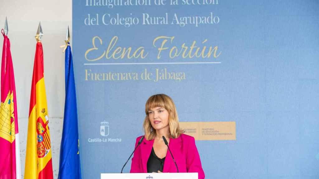 Pilar Alegría, en el acto de este lunes en Cuenca