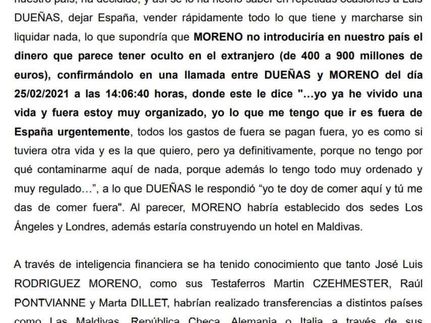 Fragmento del informe remitido por la Policía al juez de la Audiencia Nacional Ismael Serrano.