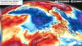 Contraste entre las anomalías de temperaturas por San Miguel en España. Meteored.