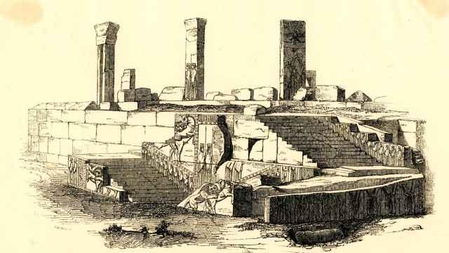 Grabado sobre las ruinas de Persépolis.