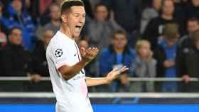 Ander Herrera celebra un gol con el PSG