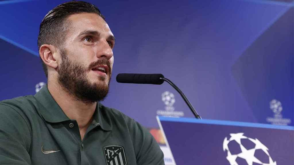 Koke Resurrección, en rueda de prensa de la Champions League