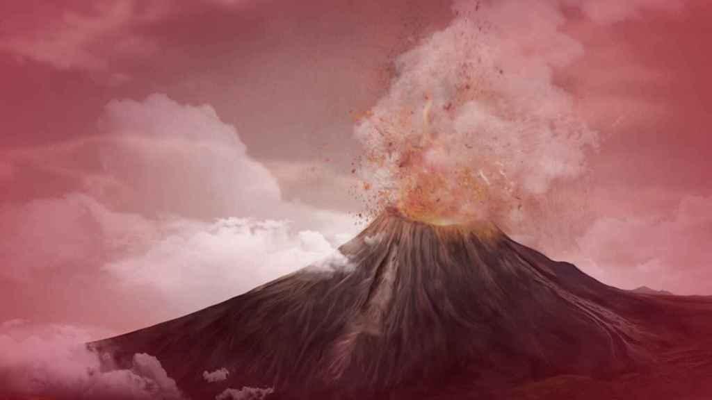Animación de la erupción del volcán Cerro Gordo, en la provincia de Ciudad Real. Foto: volcancerrogordo.es