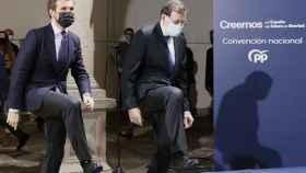 Casado y Rajoy, este lunes en Santiago de Compostela.