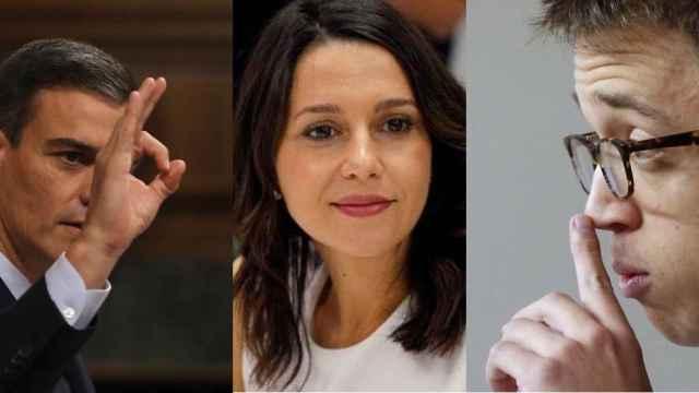 Pedro Sánchez, Inés Arrimadas e Íñigo Errejón.