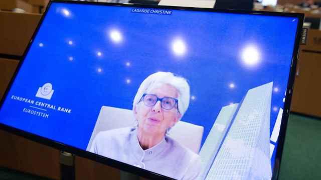 La presidenta del BCE, Christine Lagarde, durante su comparecencia virtual este lunes en la Eurocámara