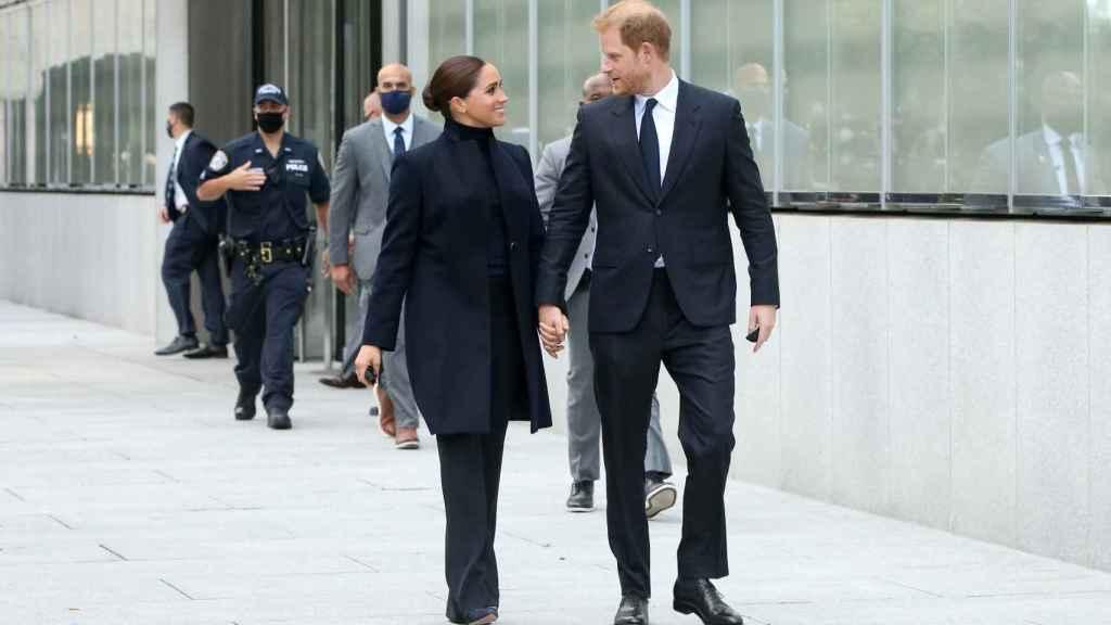 Los duques de Sussex visitando el '9/11 Memorial', en Manhattan.