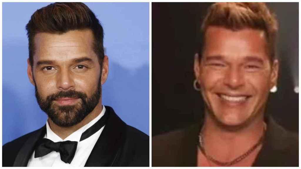 Ricky Martin, antes de su último retoque estético, a la izquierda. A la derecha, su aspecto actual.