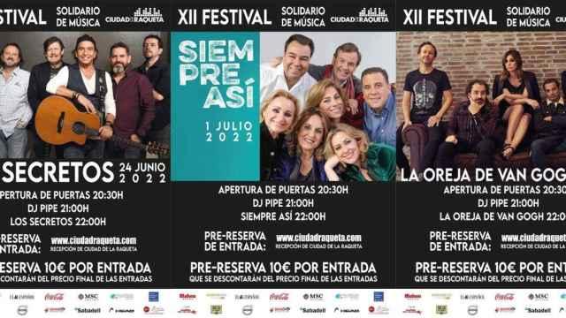 Estos son los primeros confirmados del XII Festival de Música Solidario de Ciudad de la Raqueta