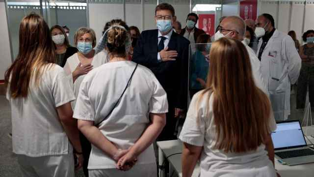 El presidente Ximo Puig, en la clausura de los puntos de vacunación masiva.