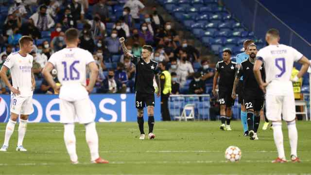 Sebastien Thill celebra el segundo gol del Sheriff al Real Madrid