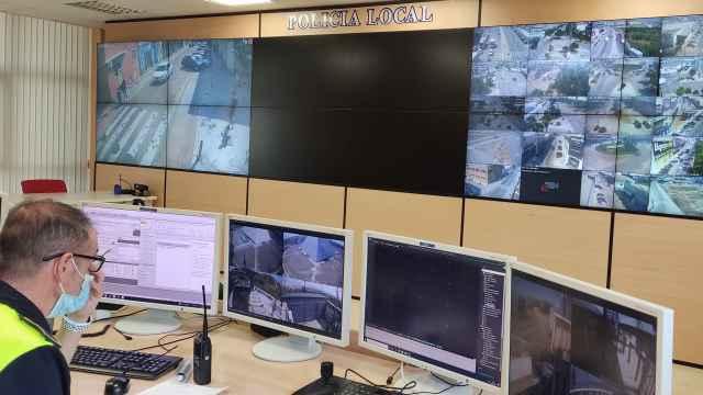 Sala de control del sistema de videovigilancia de Málaga.
