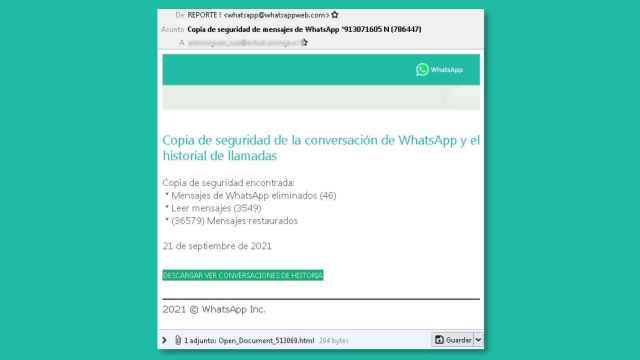 Correo falso en nombre de WhatsApp