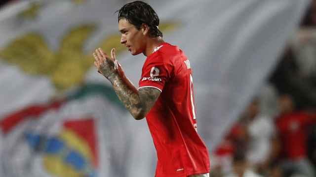 Darwin Núñez celebra su gol con el Benfica en la Champions League 2021/2022