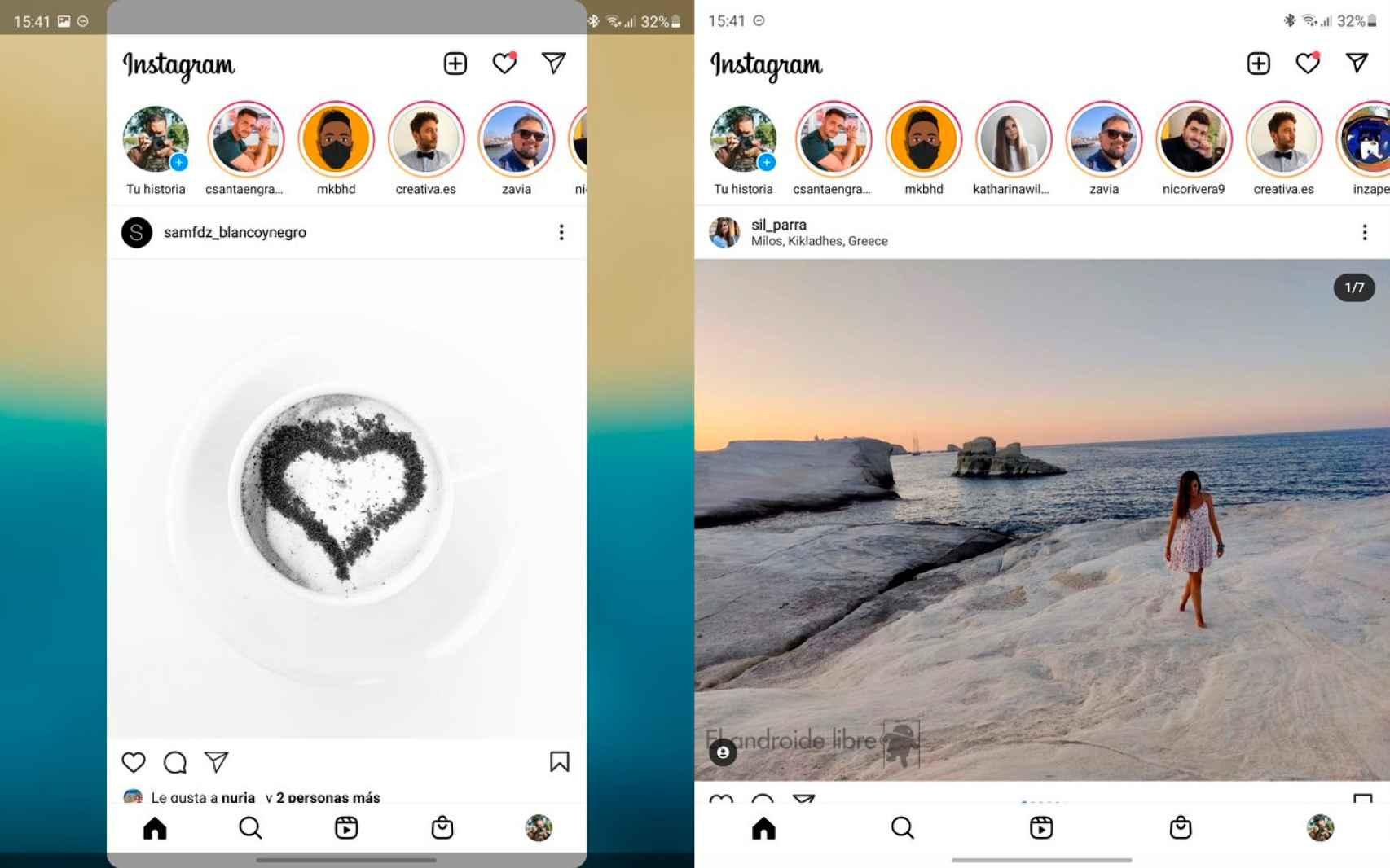 Instagram con la función de Labs sin activar y activada