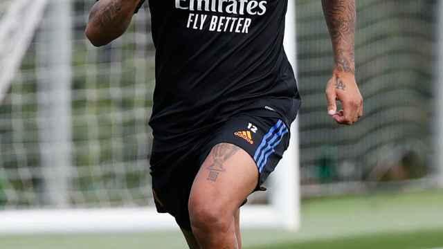 Marcelo, en el entrenamiento del Real Madrid