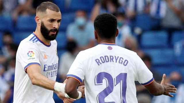 Karim Benzema celebra su gol al Espanyol