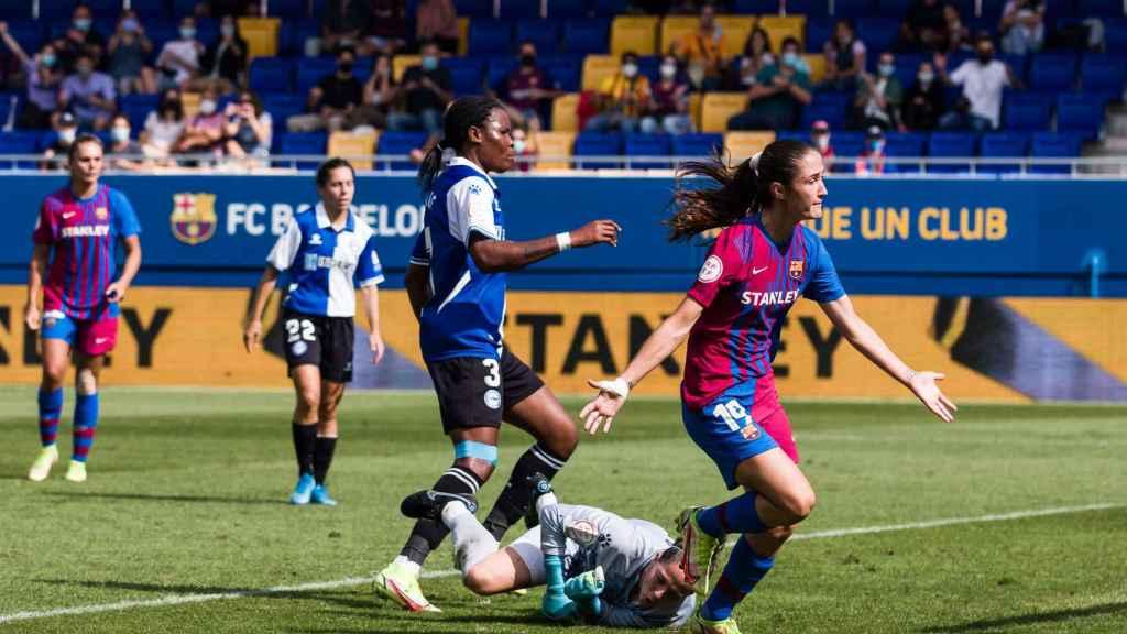 Bruna Vilamala, durante el FC Barcelona - Deportivo Alavés
