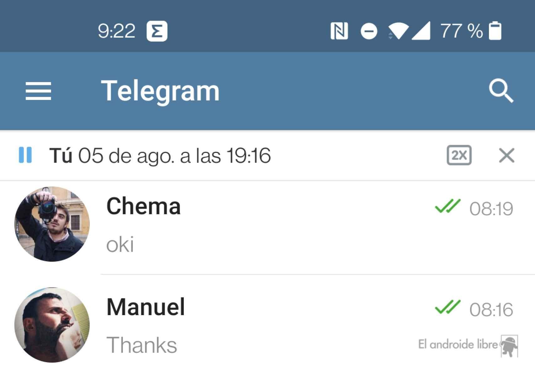 Reproductor global de audio en la aplicación Telegram