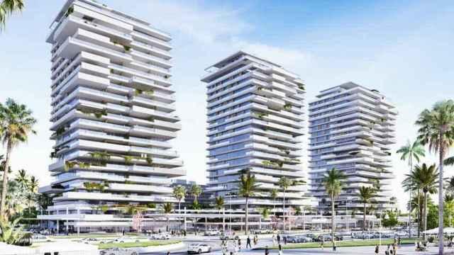 Infografía de las torres diseñadas por Carlos Lamela en el litoral oeste de Málaga capital.