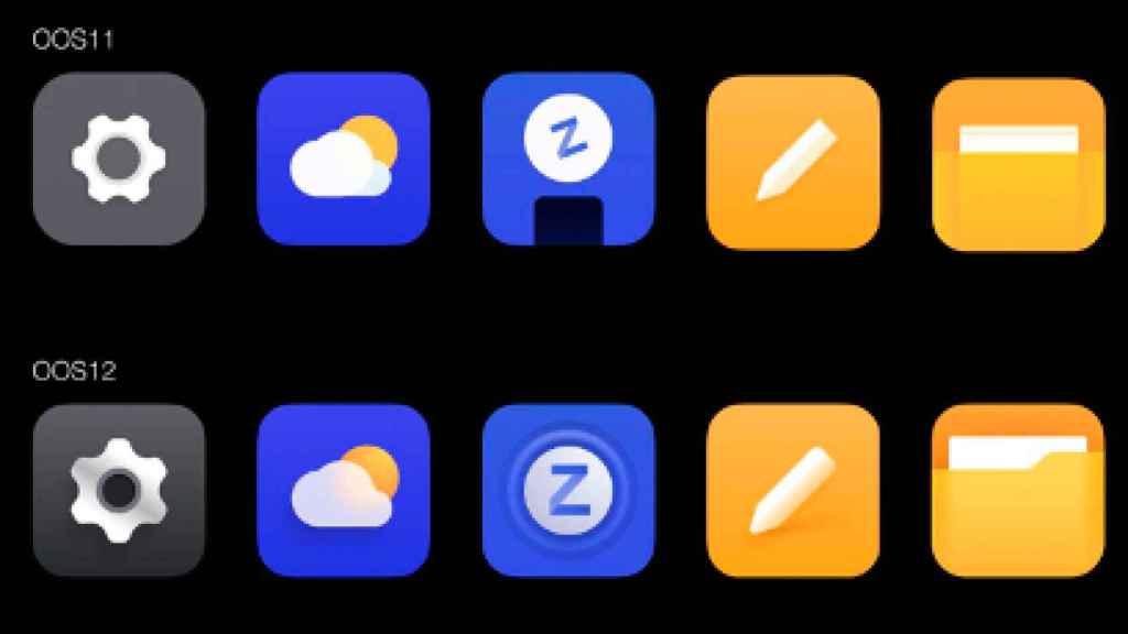 Iconos en Oxygen OS 11 y en Oxygen OS 12