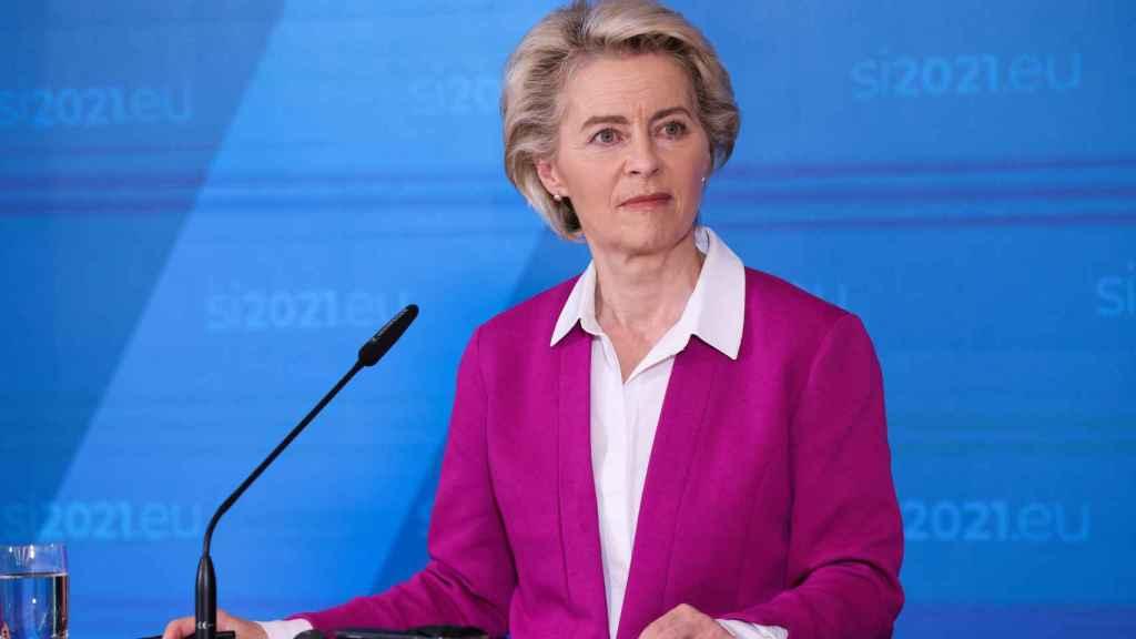 La presidenta Ursula von der Leyen, durante la rueda de prensa de este miércoles