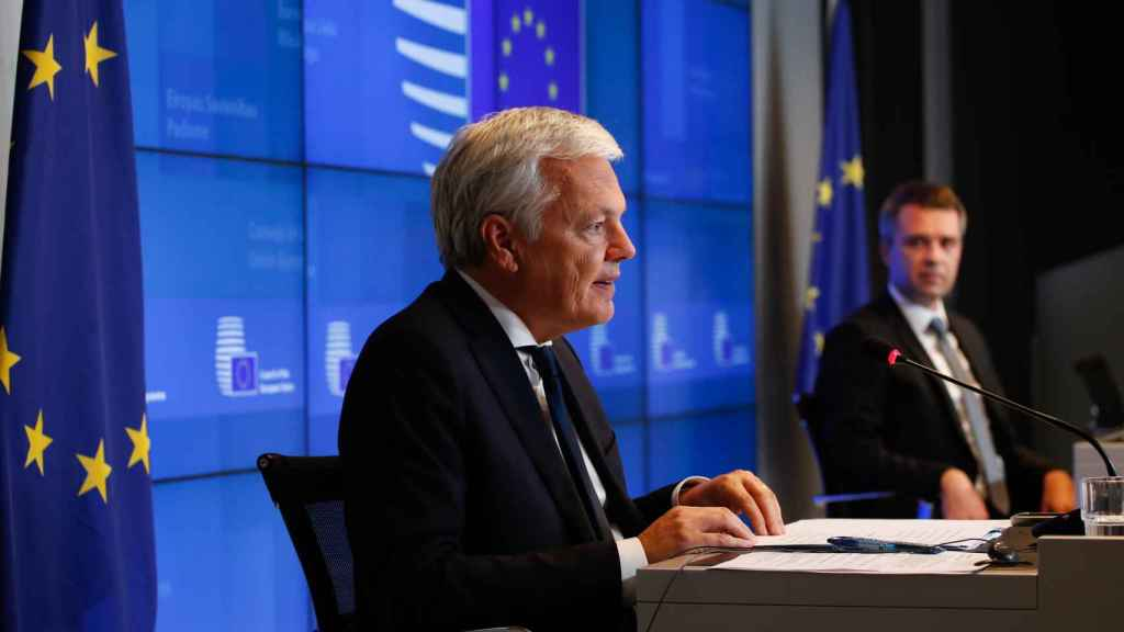 El comisario de Justicia, Didier Reynders, durante la rueda de prensa de este jueves