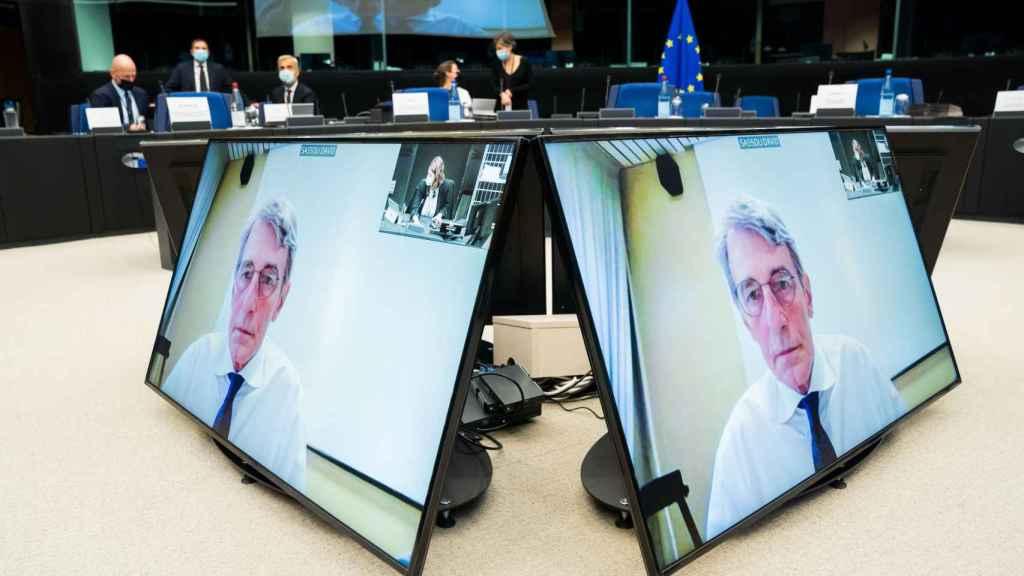 El presidente de la Eurocámara, David Sassoli, en una reunión virtual este jueves
