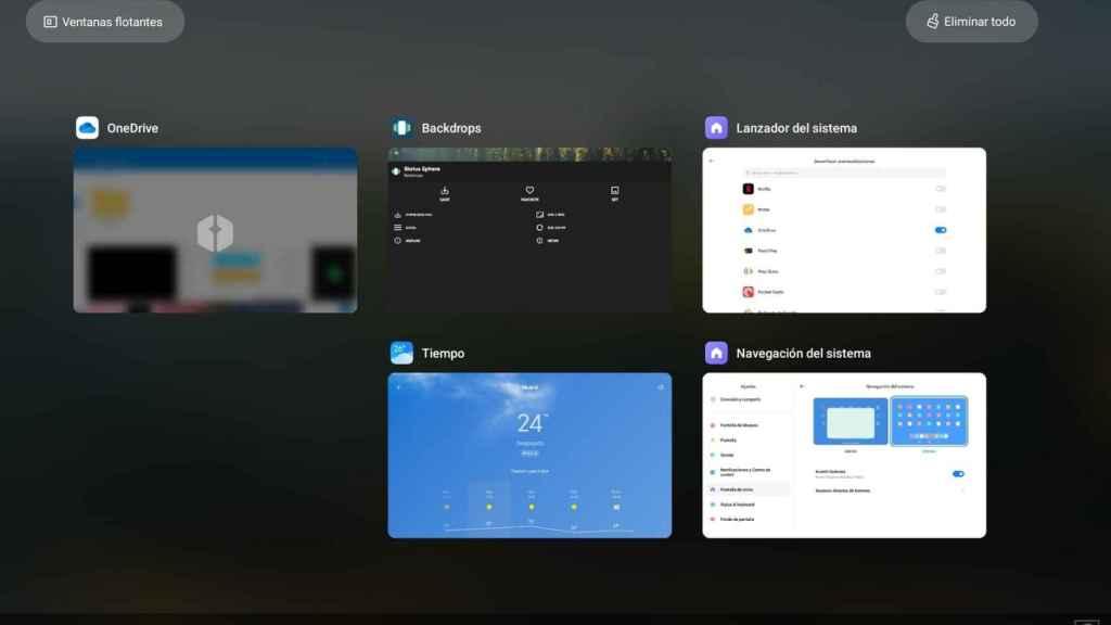 Aplicación OneDrive con el desenfoque aplicado