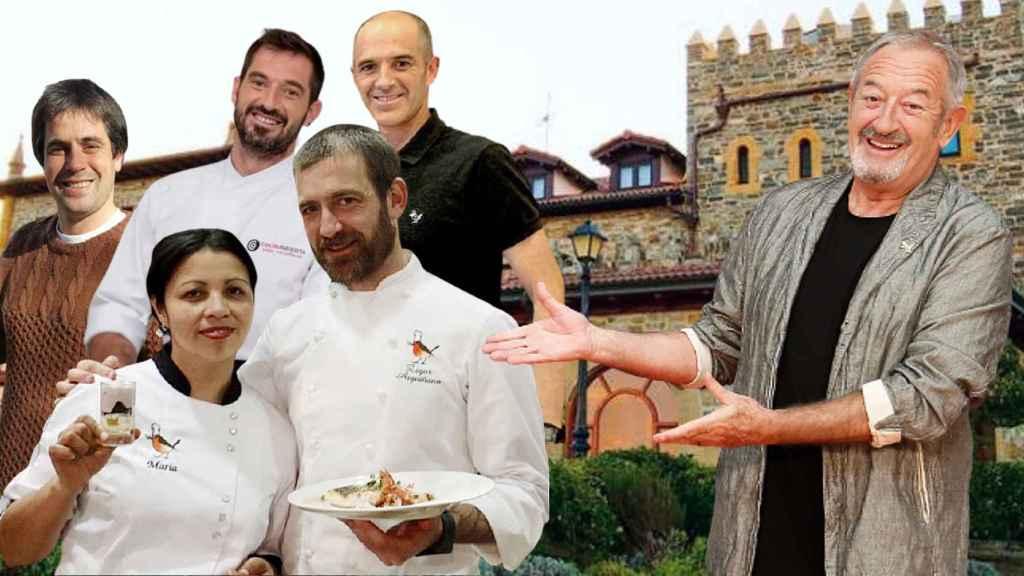 Karlos Arguiñano junto a los 5 de sus 7 hijos que forman parte del hotel, restaurante y escuela en Zarautz.