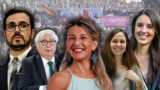 De izquierda a derecha: Alberto Garzón, Manuel Castell, Yolanda Díaz, Ione Belarra e Irene Montero.