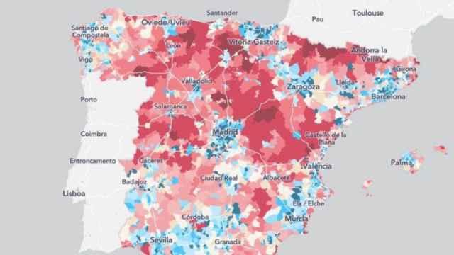 Mapa del estudio sobre movilidad en base a la telefonía móvil, disponible en la web del INE