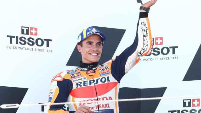 Marc Márquez celebra su segundo puesto en el GP de Aragón