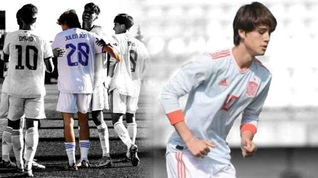 Julen Jon Guerrero, con el Real Madrid y la Selección, en un fotomontaje