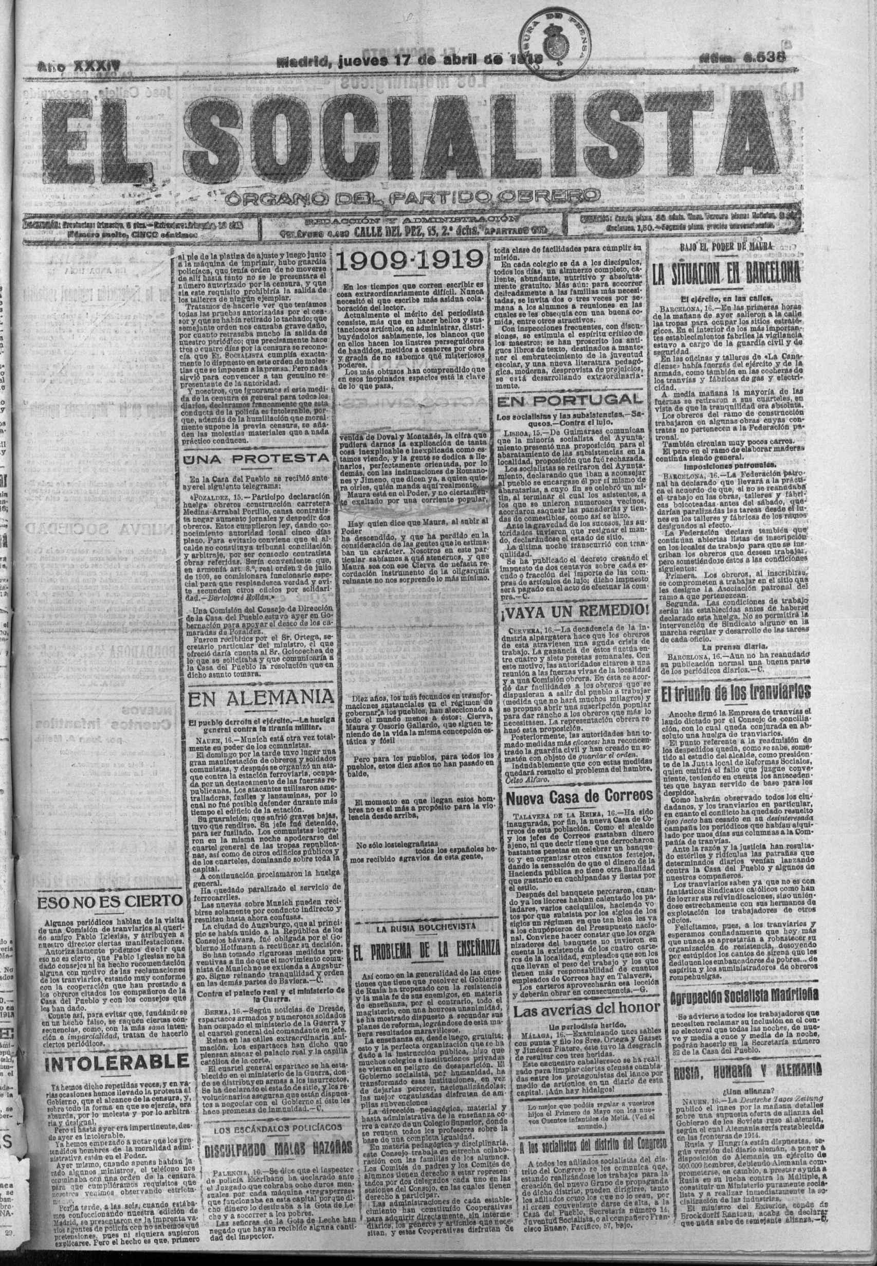 'El Socialista', jueves 17 de abril de 1919.