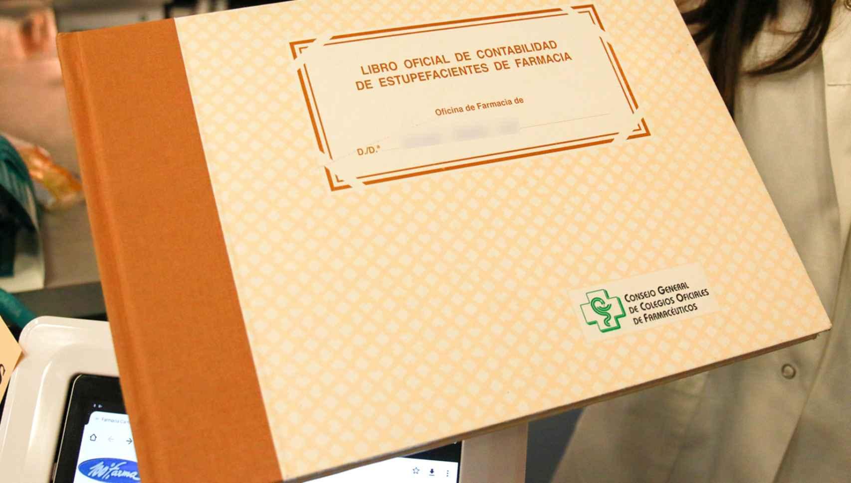 El libro de estupefacientes de una farmacia madrileña.