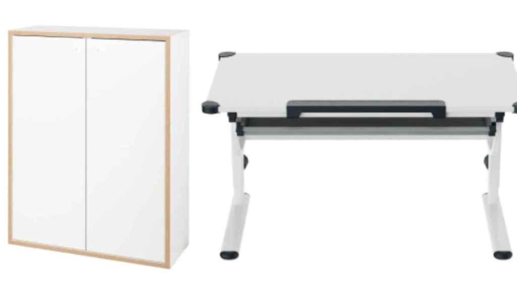 Un armario y un escritorio. Ambos en oferta y comerciados por Lidl.