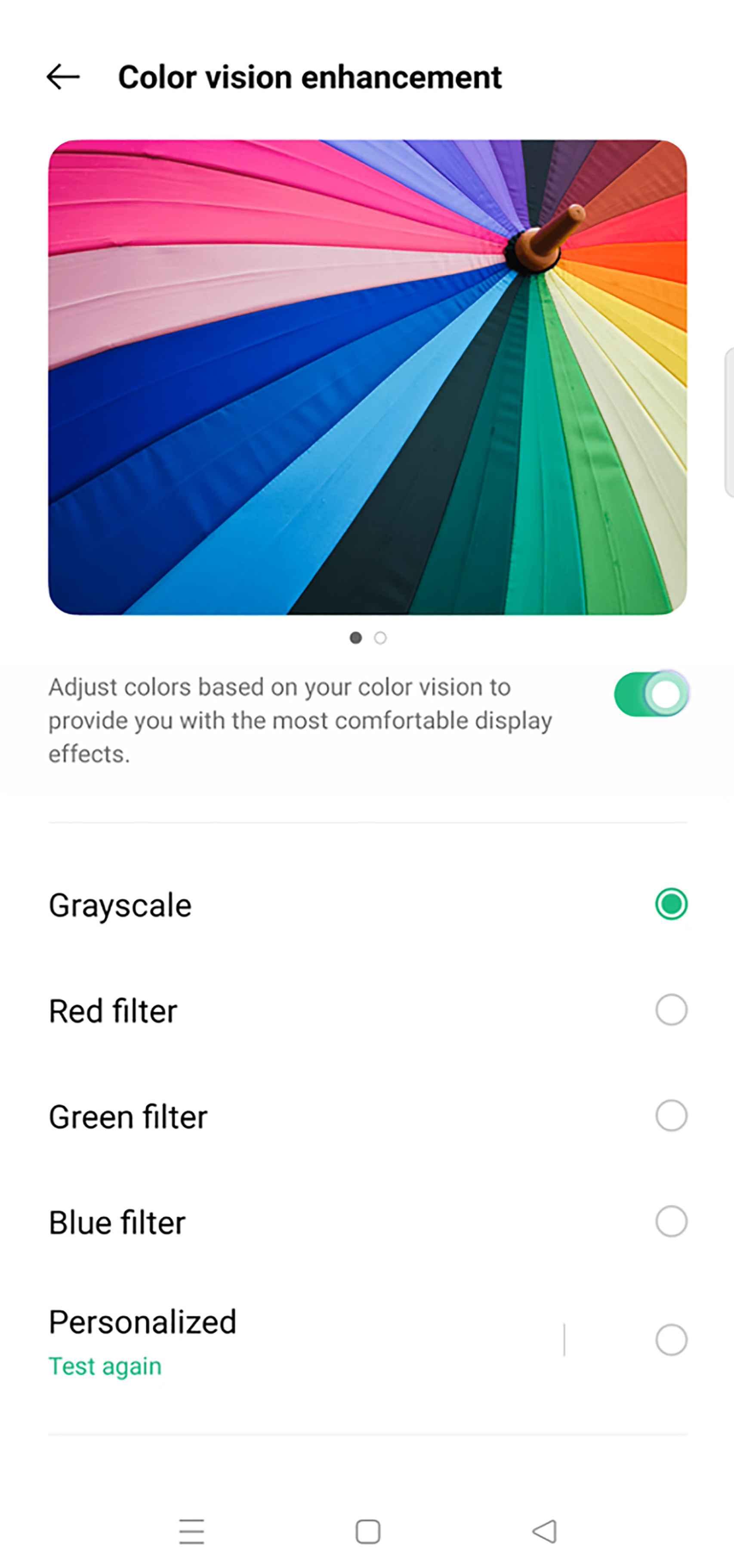 Test de visión de color de ColorOS 12
