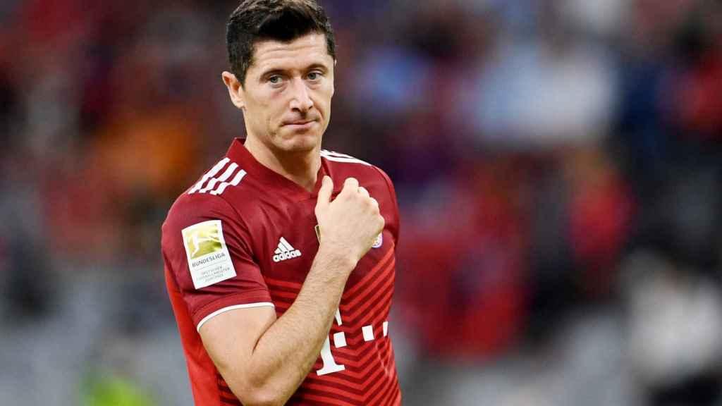 Robert Lewandowski, en un partido del Bayern Múnich en la temporada 2021/2022