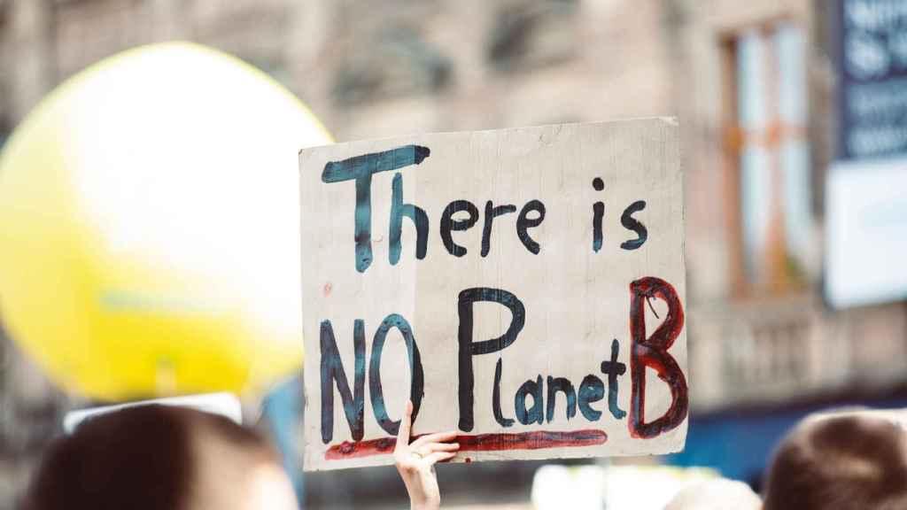 Cartel de no hay planeta B en una de las marchas por el clima