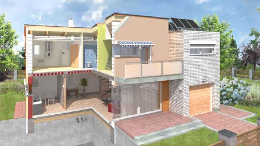Vista de un diseño passivhaus, sostenible desde sus bocetos.