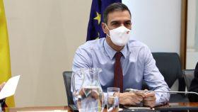 El presidente del Gobierno, Pedro Sánchez, en una reunión de trabajo.