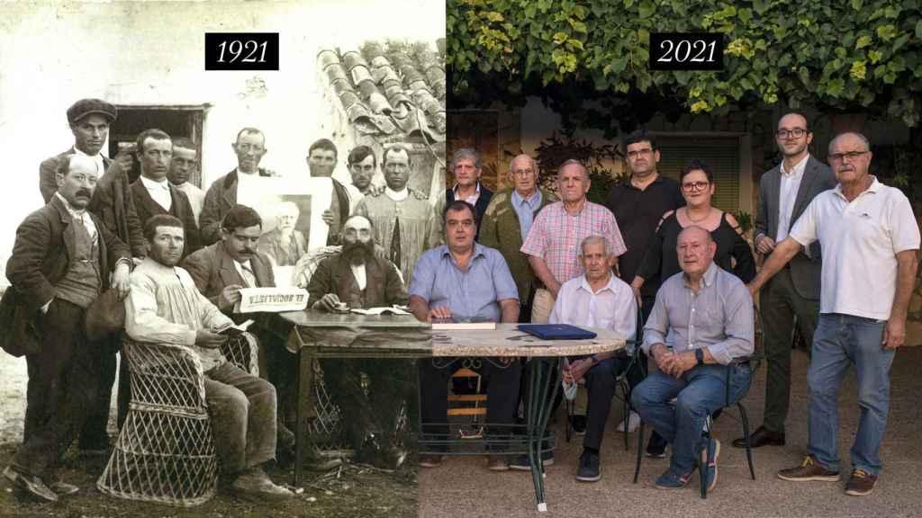 La agrupación socialista de Villalgordo en 1921 y la agrupación en 2021. Montaje.