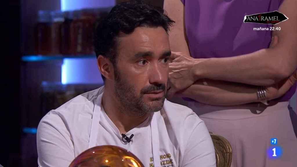 Juanma Castaño durante la primera prueba de este lunes en 'MasterChef Celebrity'.